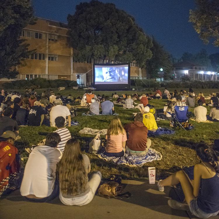 photo of crowd watching movie