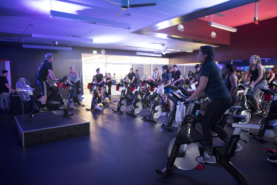 photo of group spin class