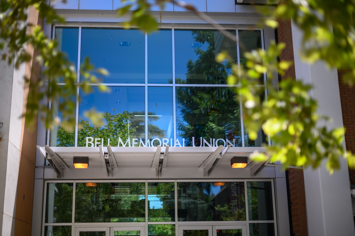 Photo of Bell Memorial Union sign