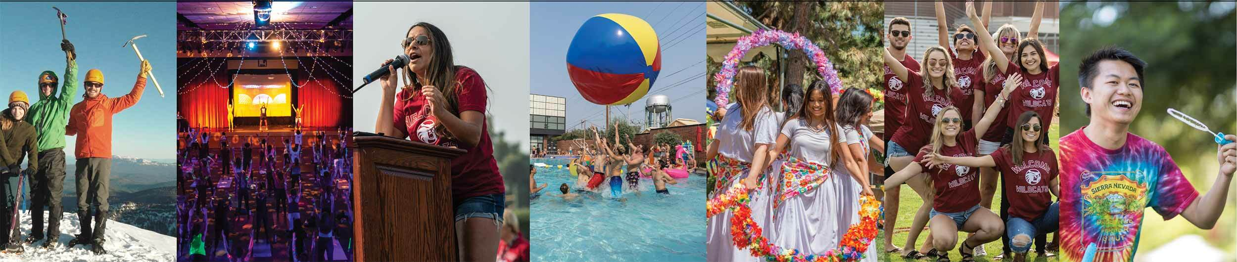 A collage of student experiences: mountain climbing, yoga class, at the pool, having fun